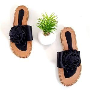Stuart Weitzman Slides Thong Sandals Black Flower